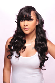 PureGlamTress model wearing the best virgin hair bundle deals in Brazilian Straight