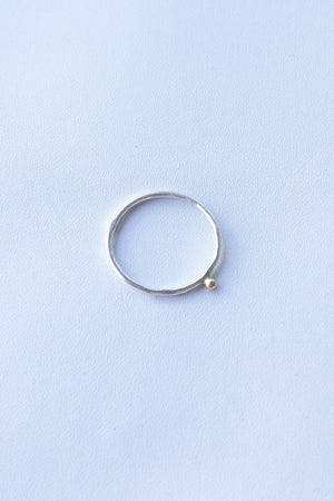 Tiny Golden Dot – Silver & Gold Ring