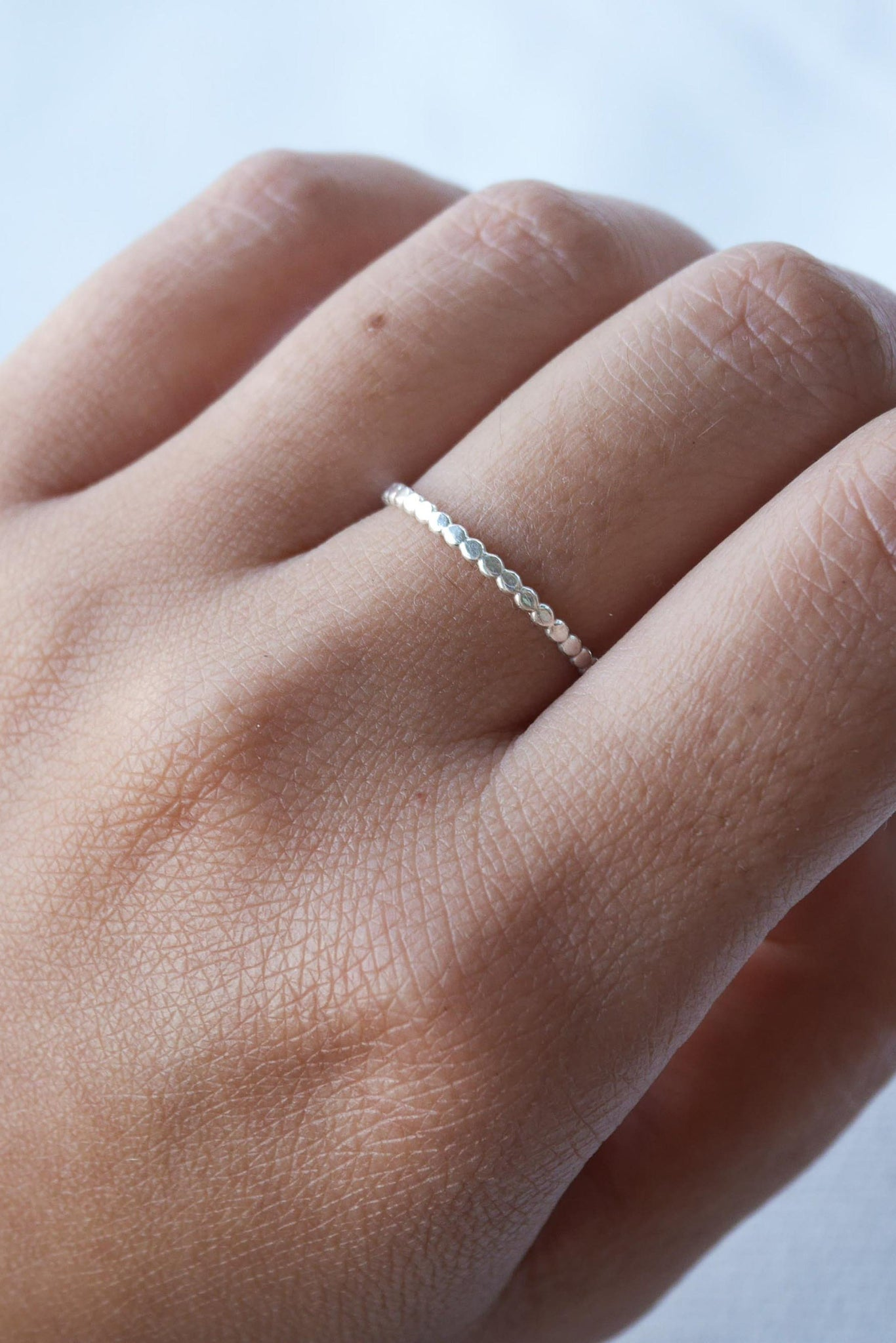 Hammered Tiny Dots – Silver Ring