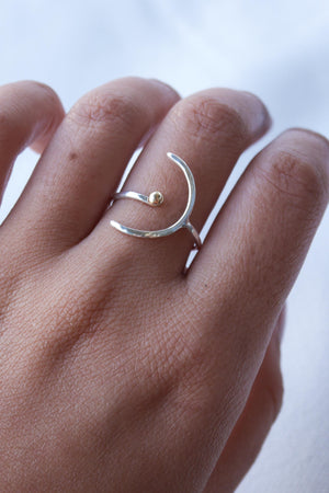 Star and Moon – Silver & Gold Ring