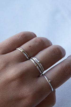 Tiny Golden Dot on Top – Silver & Gold Ring