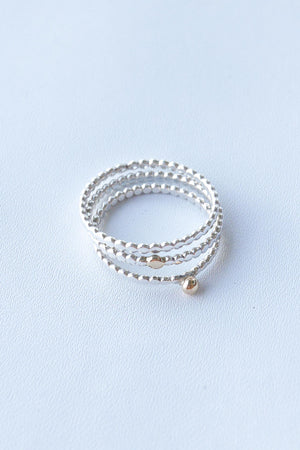 Hammered Golden Dot on Tiny Dots – Silver & Gold Ring