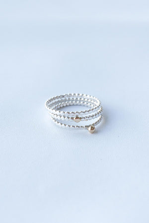 Golden Dot on Hammered Tiny Dots – Silver & Gold Ring