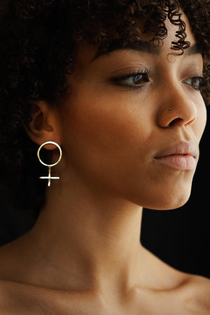 Feminist Power – Brass Earrings