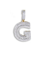 "Sterling Silver ""G"" Pendant set with Cubic Zirconia"