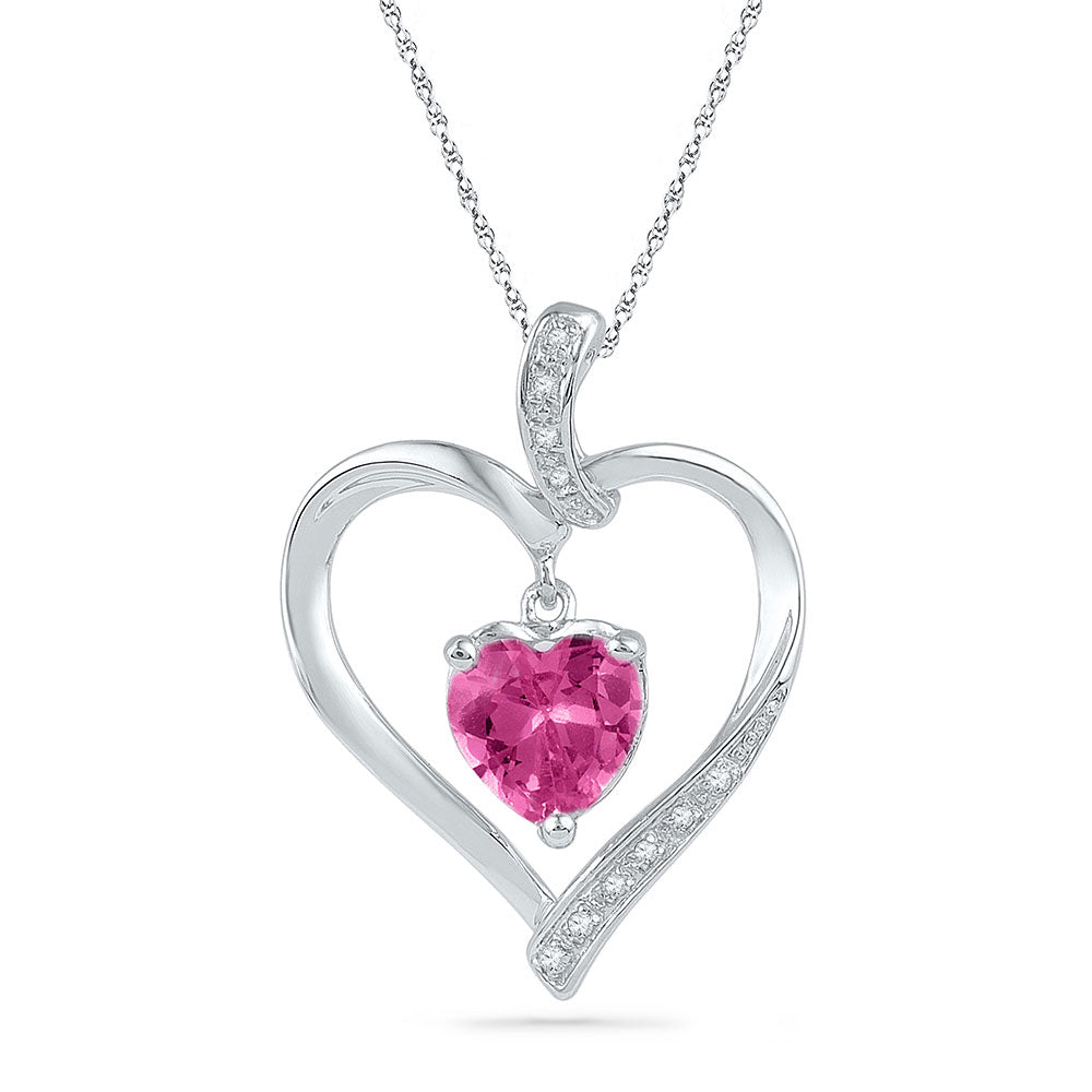 10kt White Gold Womens Round Lab-Created Pink Sapphire Heart Pendant 1.75ct