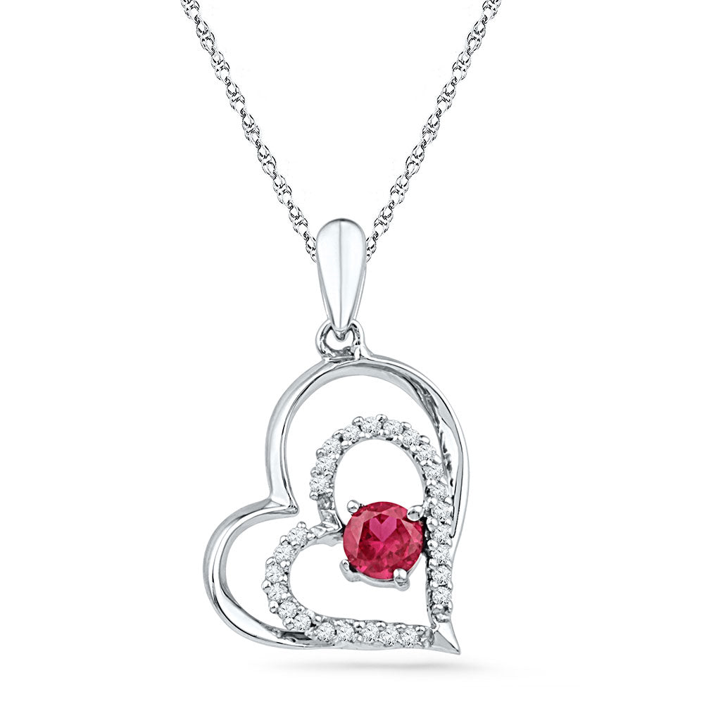 10kt White Gold Womens Round Lab-Created Ruby Heart Pendant .50ct
