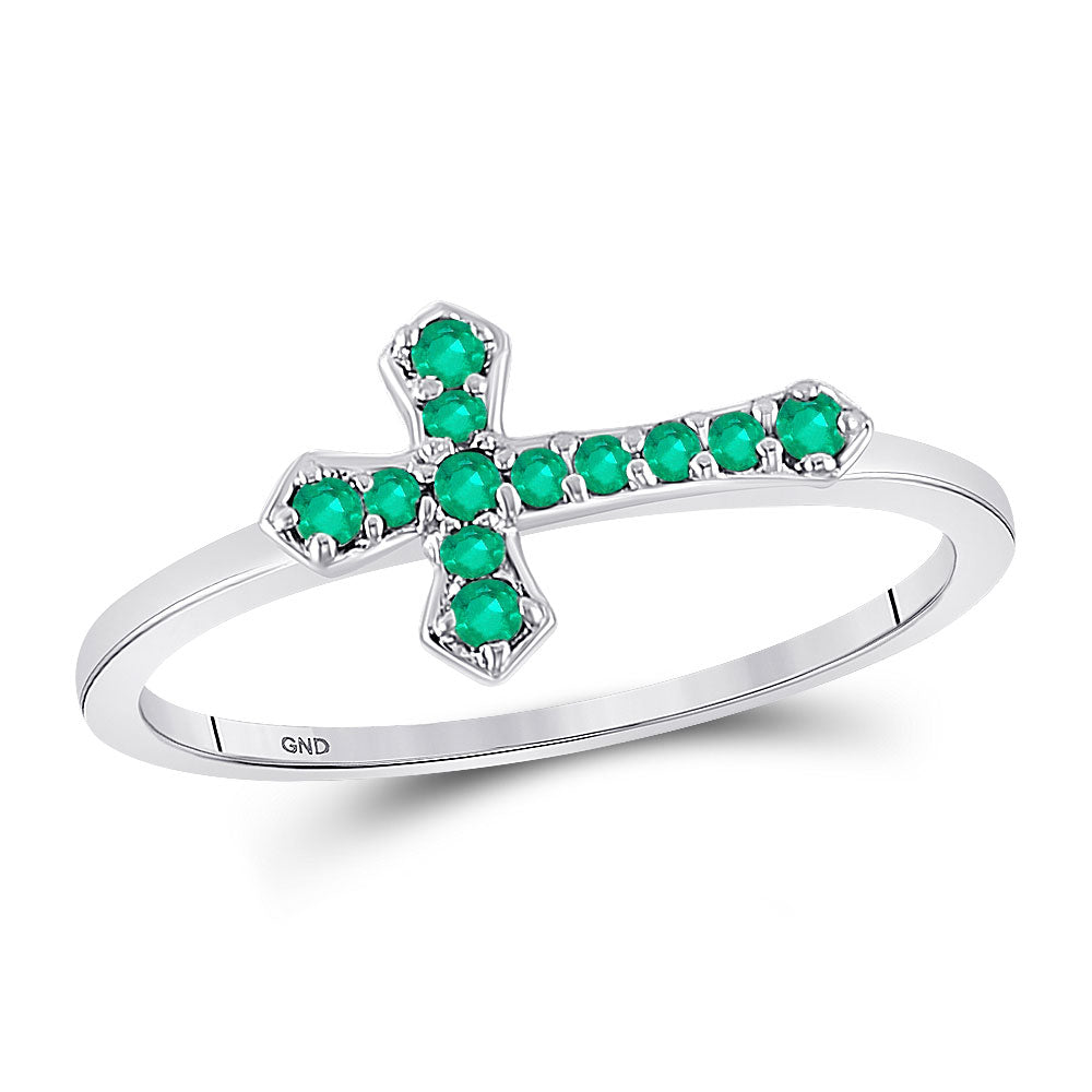 Sterling Silver Womens Round Lab-Created Emerald Cross Religious Ring .13ct