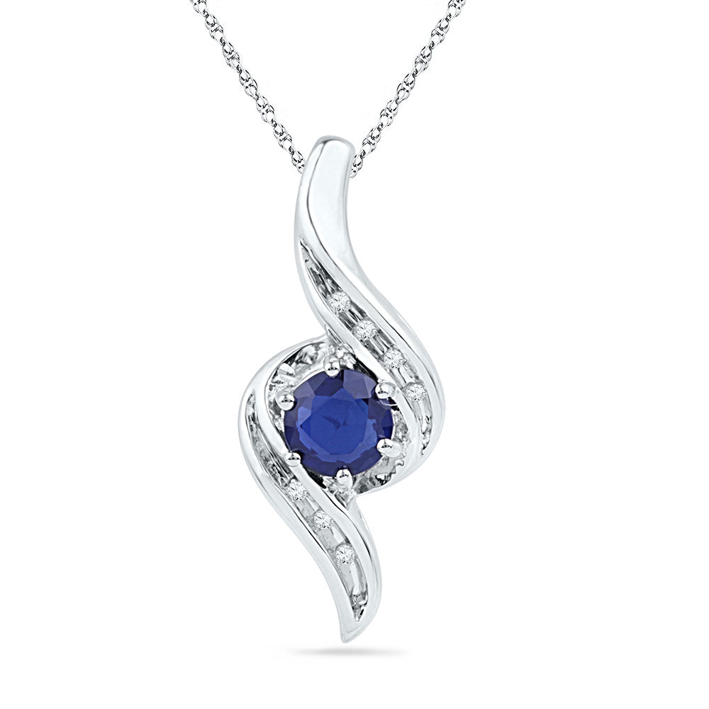 Sterling Silver Womens Round Lab-Created Blue Sapphire Solitaire Ribbon Pendant .75ct