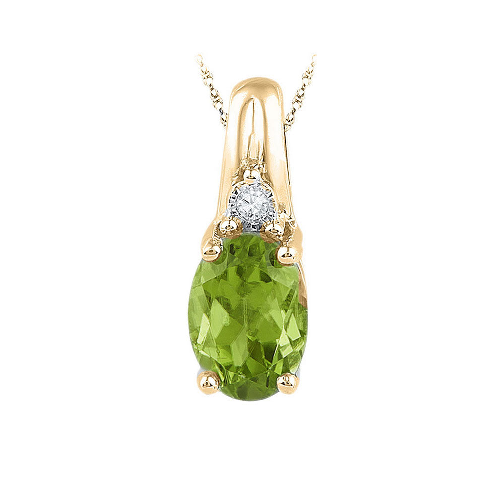 10kt Yellow Gold Womens Oval Lab-Created Green Peridot Solitaire Diamond Pendant 1.00ct