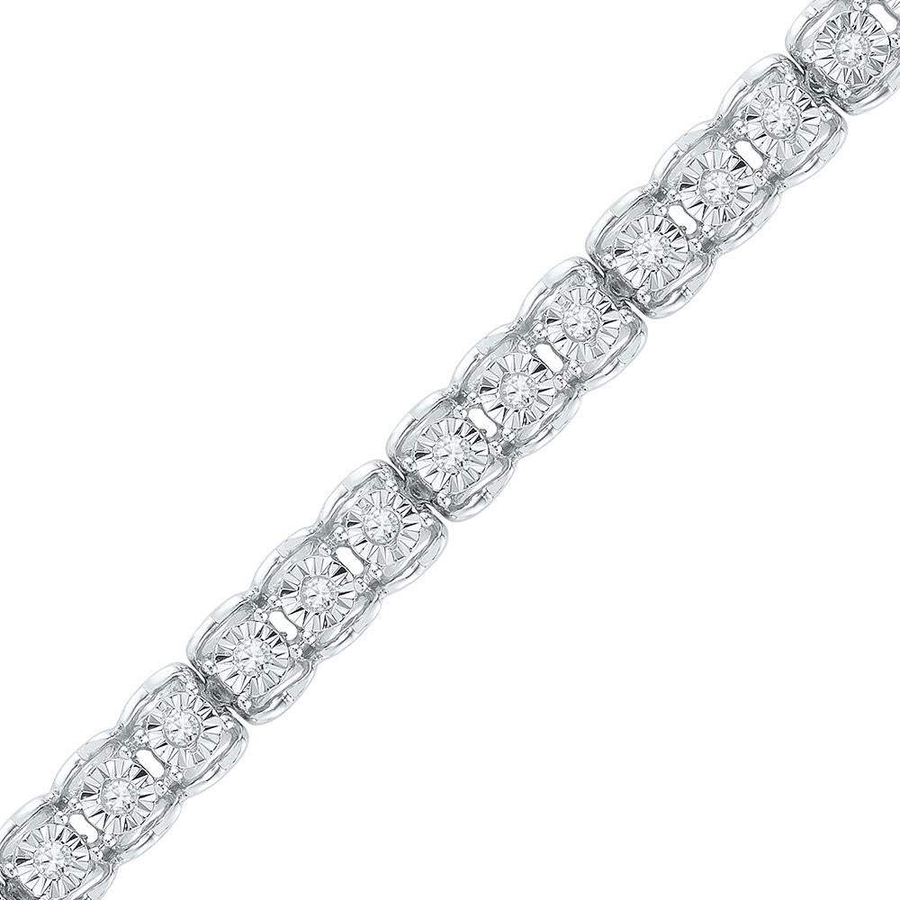 10kt White Gold Womens Round Diamond Tennis Bracelet .50ct