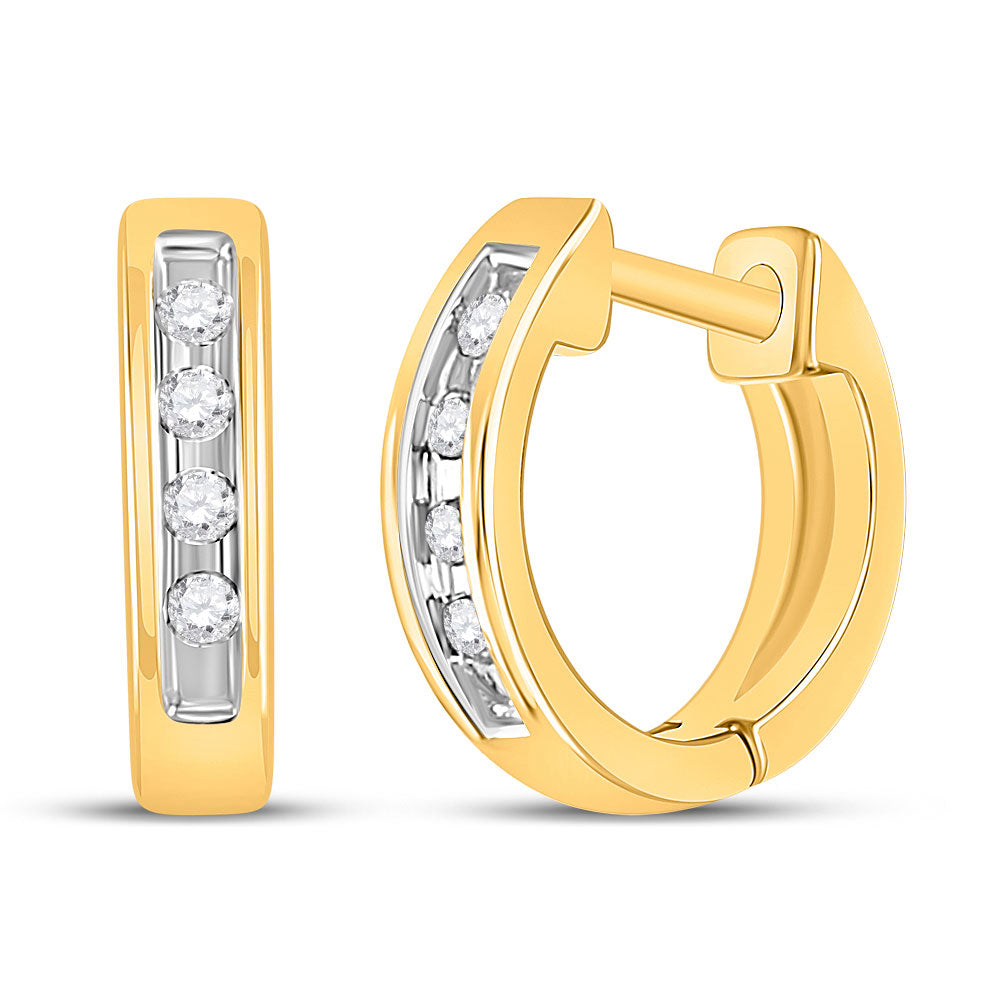 10kt Yellow Gold  Round Diamond Single Row Huggie Earrings 0.05ct