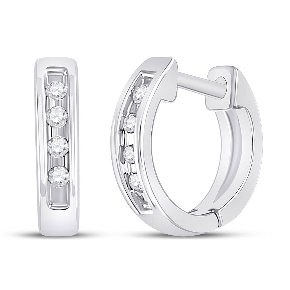 10kt White Gold  Round Diamond Single Row Huggie Earrings 0.05ct