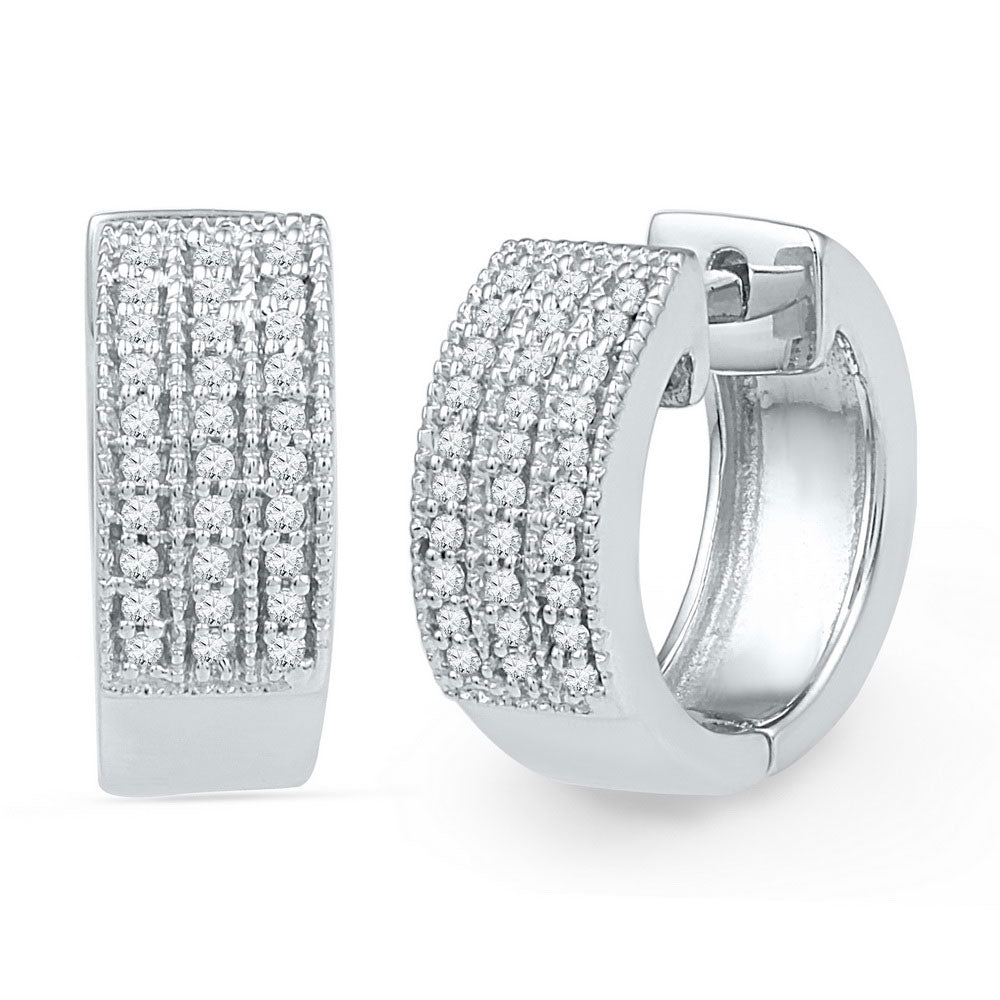 10kt White Gold  Round Diamond Huggie Hoop Earrings .25ct