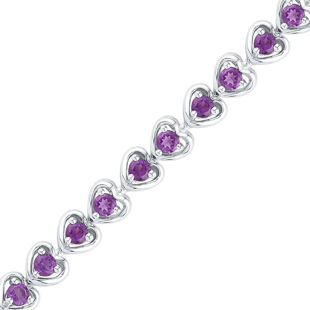 Sterling Silver Womens Round Lab-Created Amethyst Tennis Bracelet 3.63ct