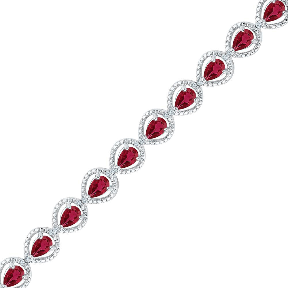 Sterling Silver Womens Oval Lab-Created Ruby Tennis Bracelet 5.88ct