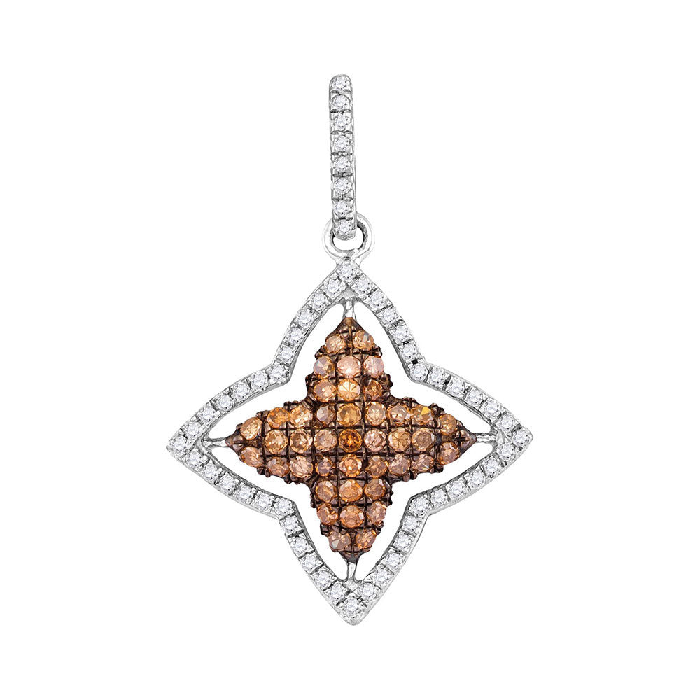 10kt White Gold Womens Round Brown Diamond Star Frame Pendant .50ct
