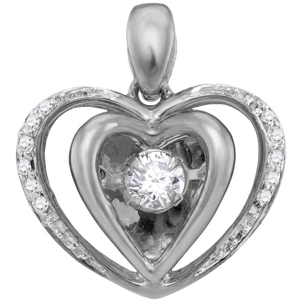 10kt White Gold Womens Round Moving Twinkle Diamond Heart Pendant .17ct