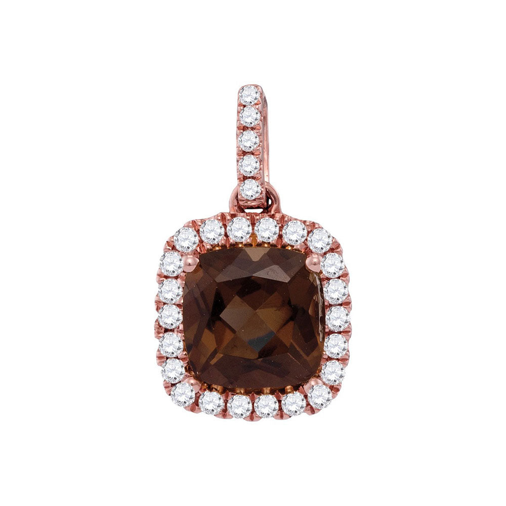 14kt Rose Gold Womens Cushion Smoky Quartz Solitaire Diamond Accent Pendant .15ct