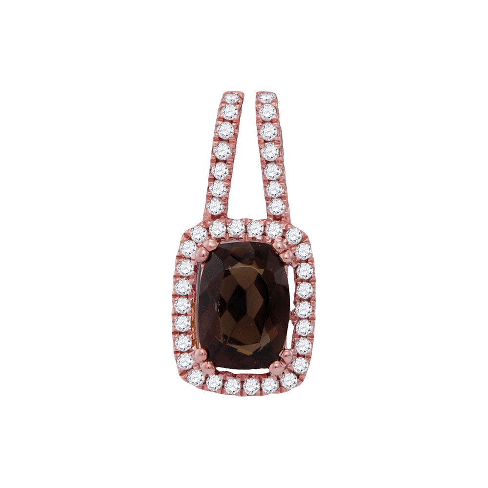 14kt Rose Gold Womens Cushion Smoky Quartz Solitaire Diamond Frame Pendant 1.00ct
