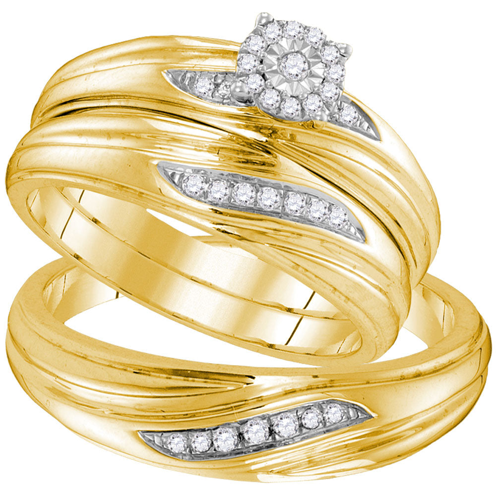 Yellow-tone Sterling Silver His & Hers Round Diamond Solitaire Matching Bridal Wedding Ring Band Set .15ct