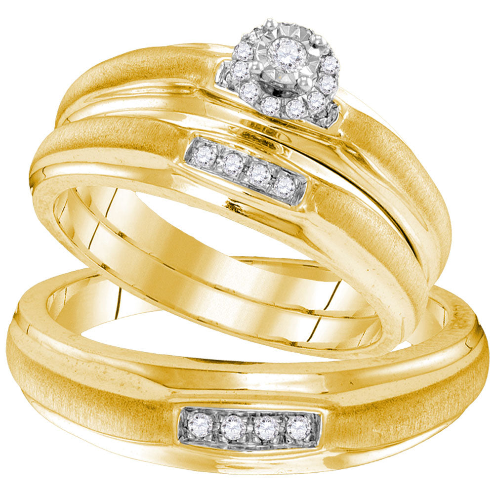 Yellow-tone Sterling Silver His & Hers Round Diamond Solitaire Matching Bridal Wedding Ring Band Set .17ct