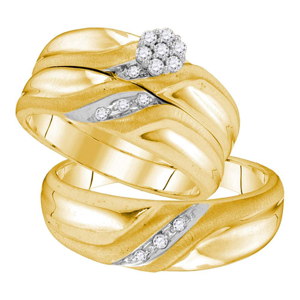 Yellow-tone Sterling Silver His Hers Round Diamond Cluster Matching Bridal Wedding Ring Band Set .15ct