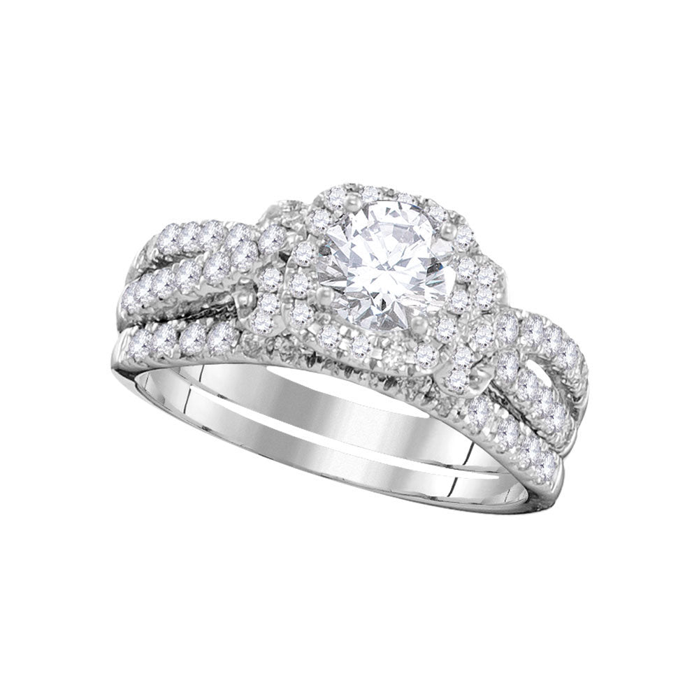 14kt White Gold Womens Round Diamond Bridal Wedding Engagement Ring Band Set 1.35ct