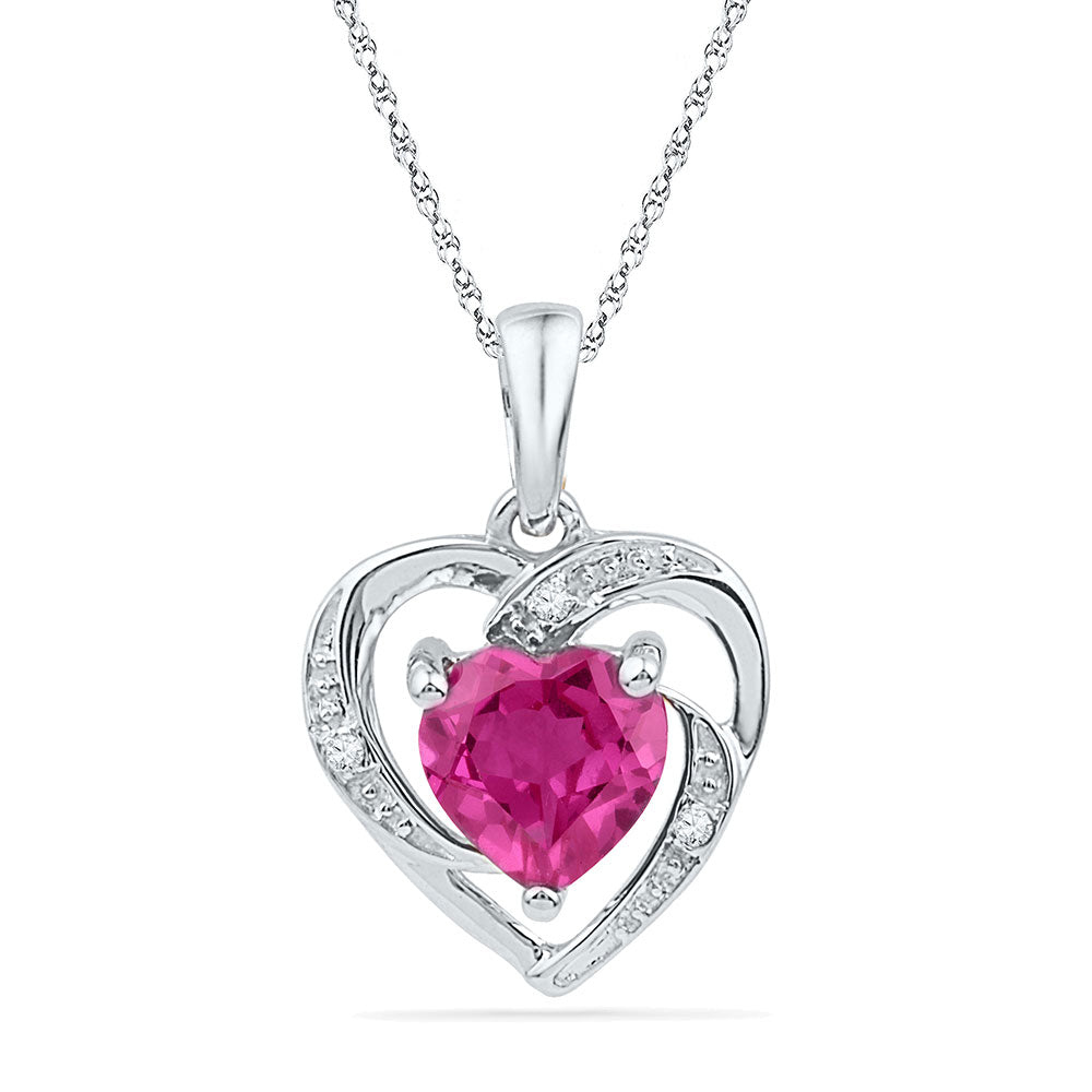 10kt White Gold Womens Round Lab-Created Pink Sapphire Heart Pendant 1.00ct
