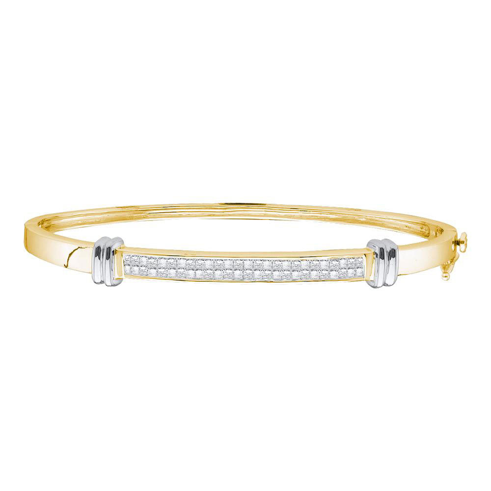 14kt Two-tone Yellow Gold Womens Princess Diamond Bangle Bracelet 1.00ct