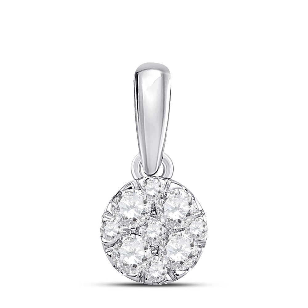 14kt White Gold Womens Round Diamond Fashion Cluster Pendant .25ct
