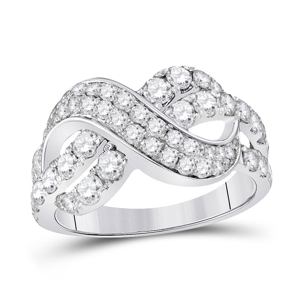 14kt White Gold Womens Round Pave-set Diamond Infinity Crossover Band 1.50ct