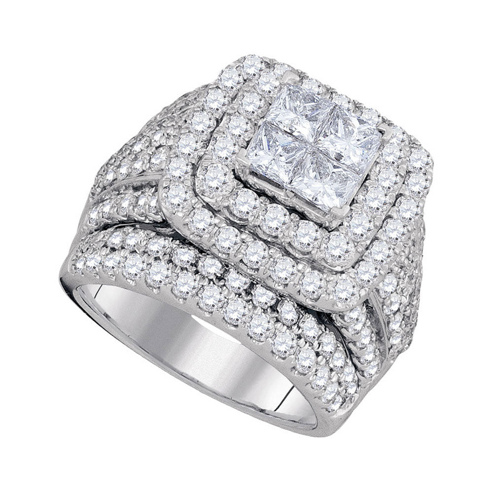 14kt White Gold Womens Princess Diamond Cluster Bridal Wedding Engagement Ring 4.00ct