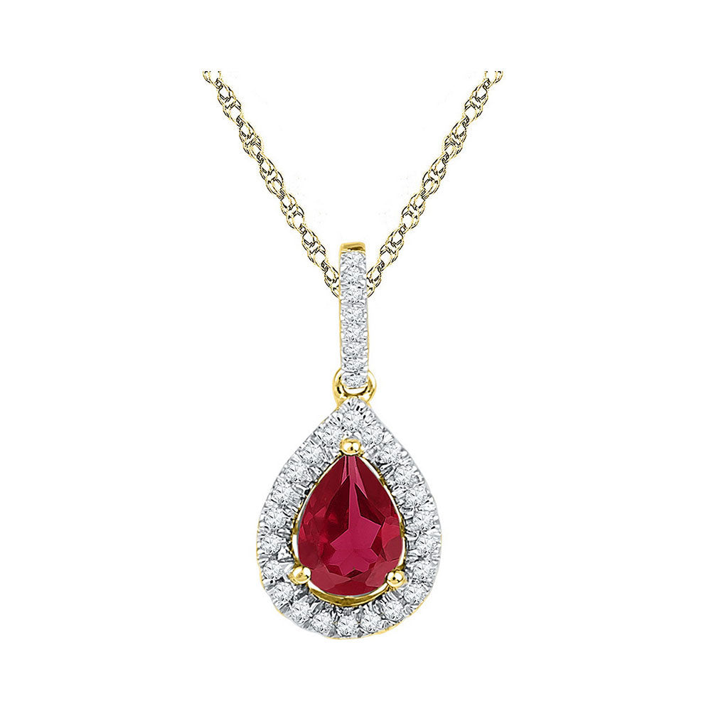 10kt Yellow Gold Womens Pear Lab-Created Ruby Solitaire Diamond Frame Pendant 1.88ct