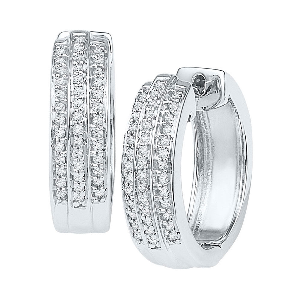 10kt White Gold  Round Diamond Triple Row Huggie Earrings .25ct