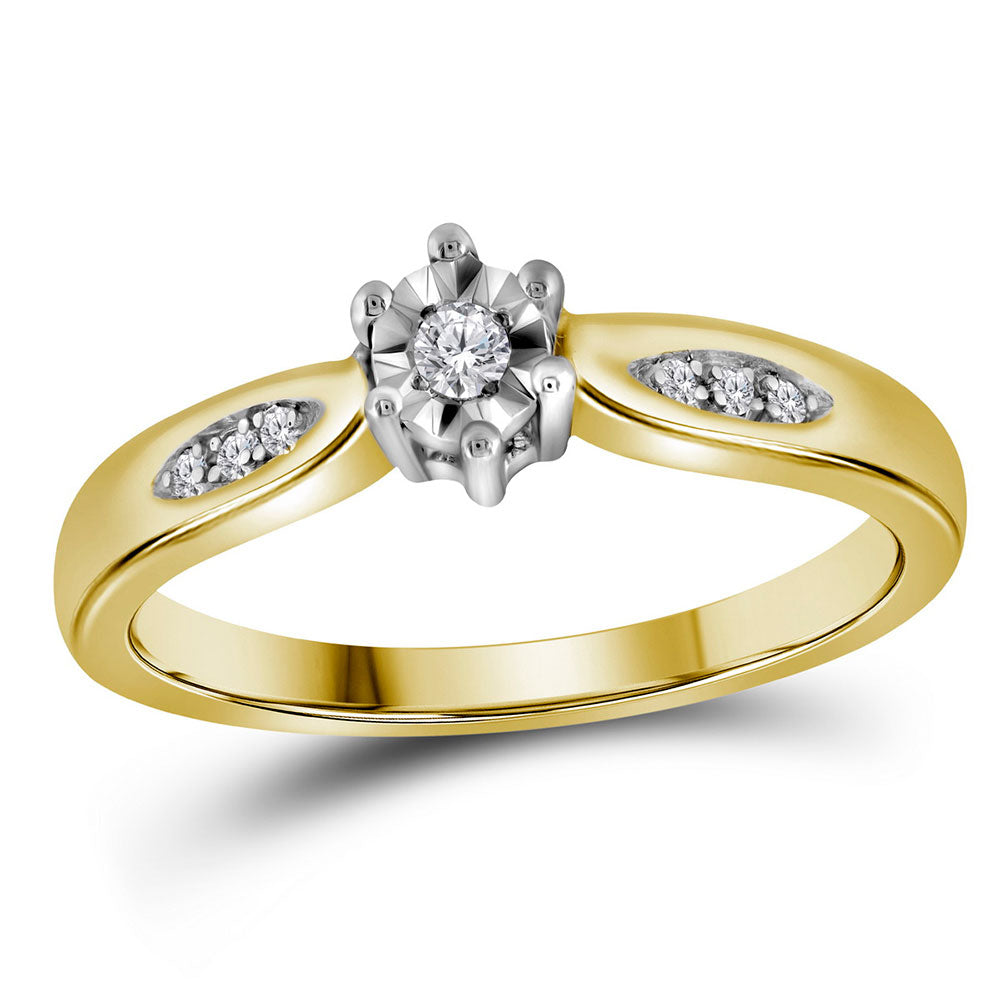 Yellow-tone Sterling Silver Womens Round Diamond Solitaire Bridal Wedding Engagement Ring 0.05ct