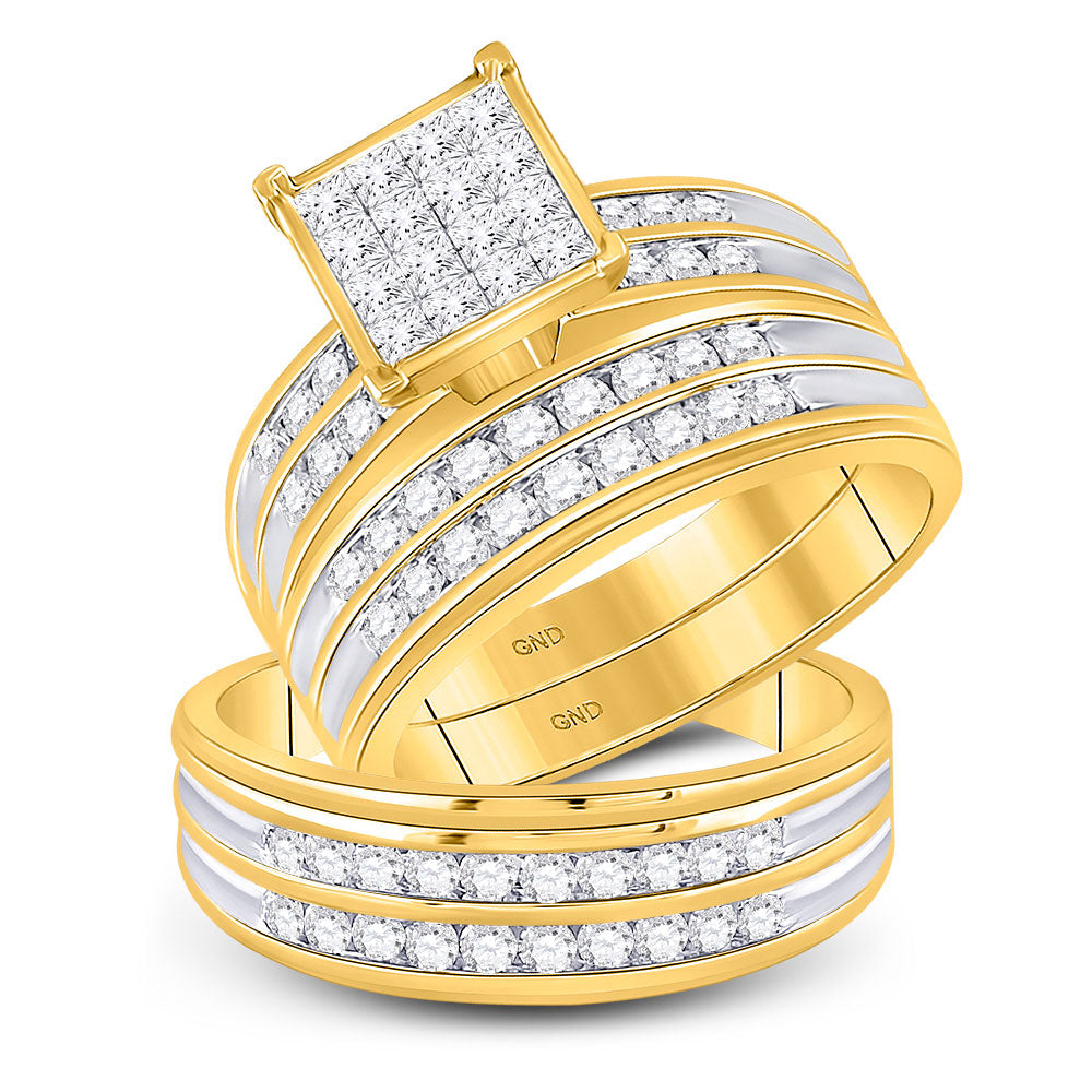 14kt Yellow Gold His & Hers Princess Diamond Cluster Matching Bridal Wedding Ring Band Set 1.50ct