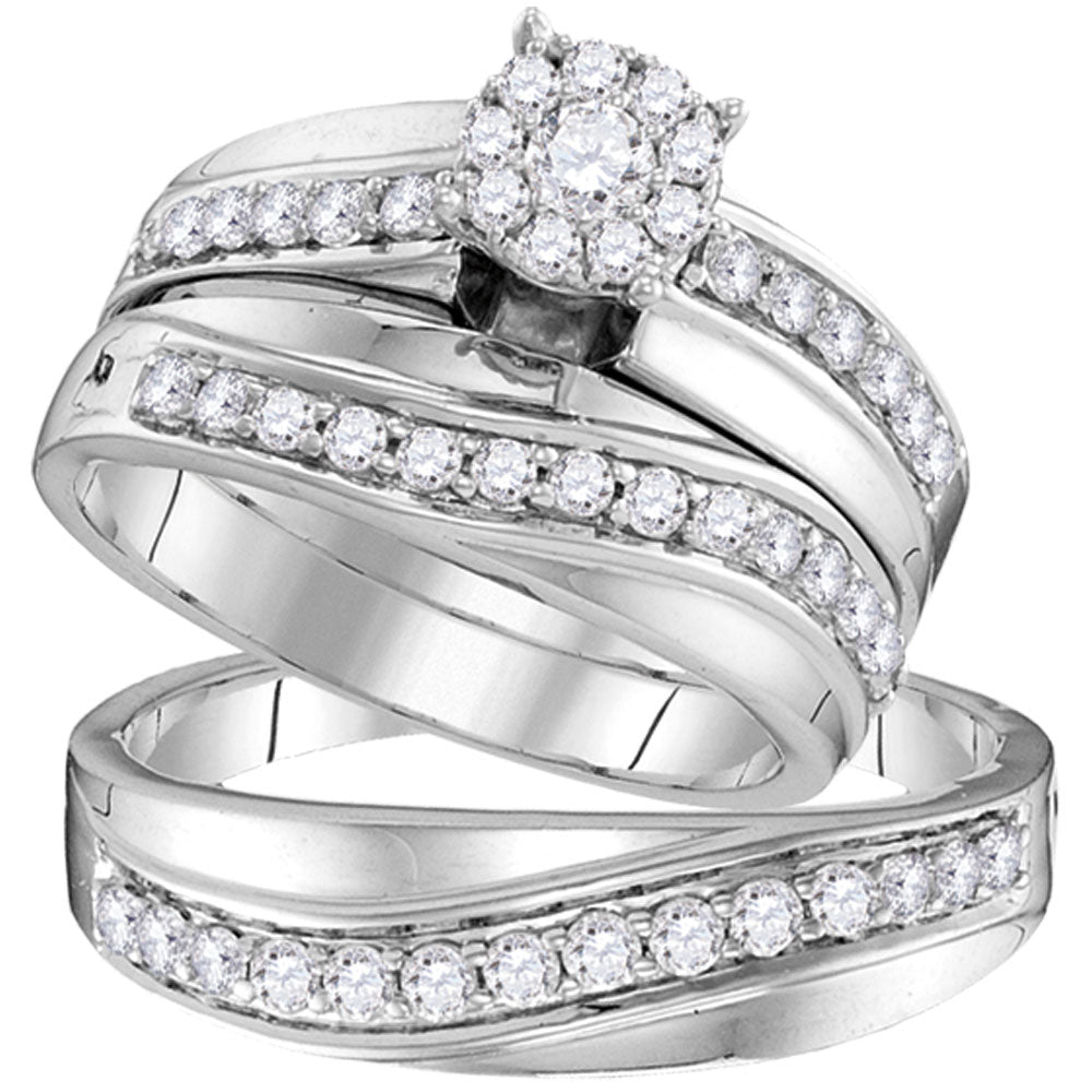 14kt White Gold His & Hers Round Diamond Cluster Matching Bridal Wedding Ring Band Set 1.00ct