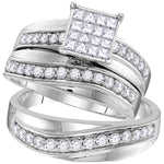 14kt White Gold His & Hers Princess Diamond Cluster Matching Bridal Wedding Ring Band Set 1.15ct