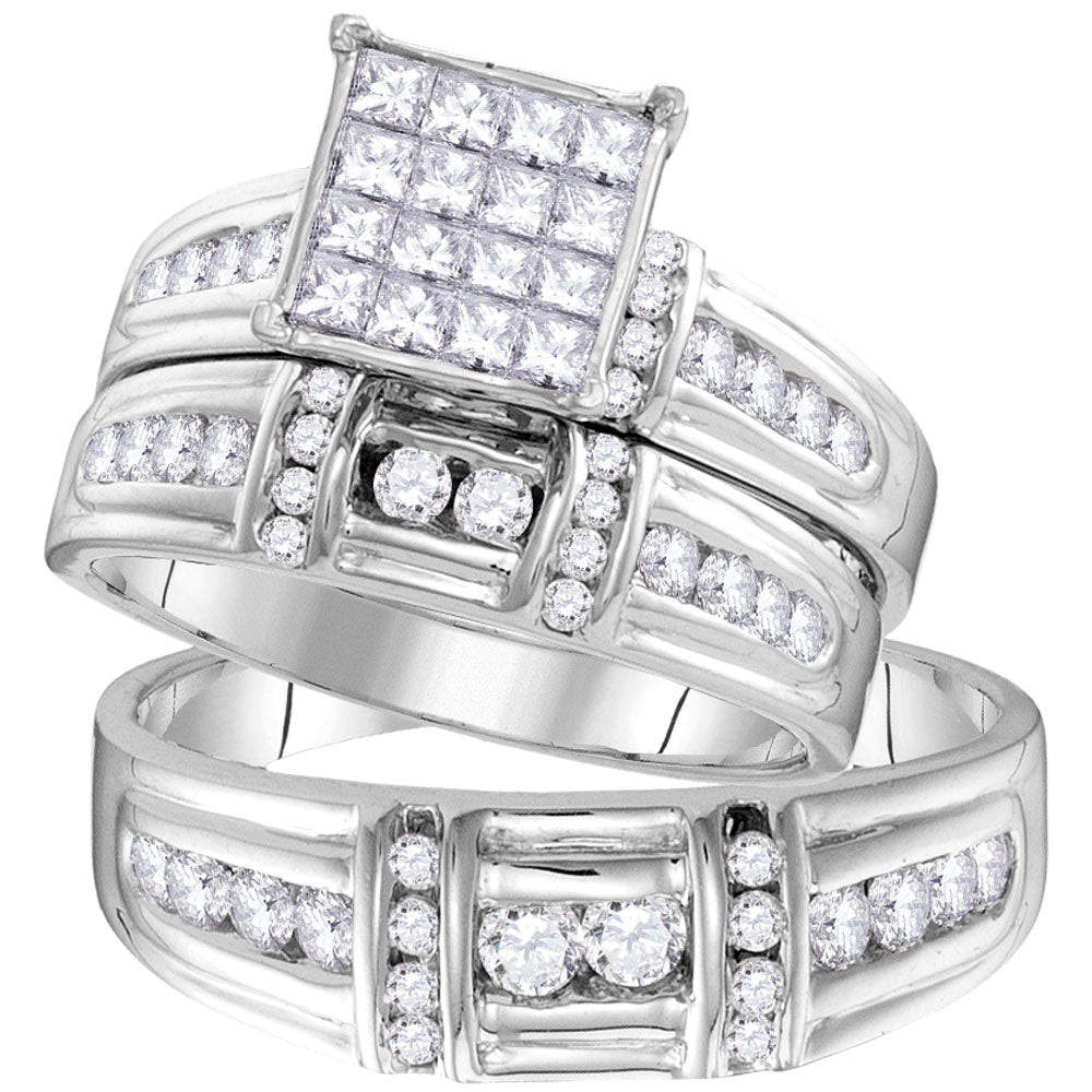 14kt White Gold His & Hers Princess Diamond Cluster Matching Bridal Wedding Ring Band Set 1.38ct