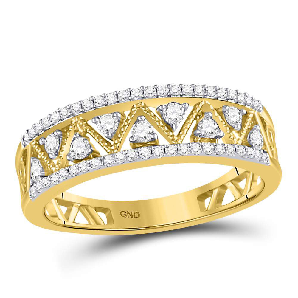 10kt Yellow Gold Womens Round Diamond Double Row Zigzag Band Ring 1.00ct