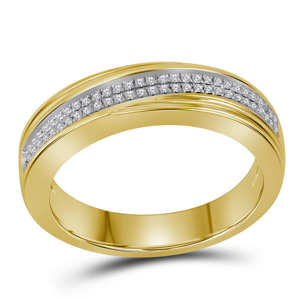 10kt Yellow Gold Mens Round Diamond Double Row Crossover Wedding Band .15ct