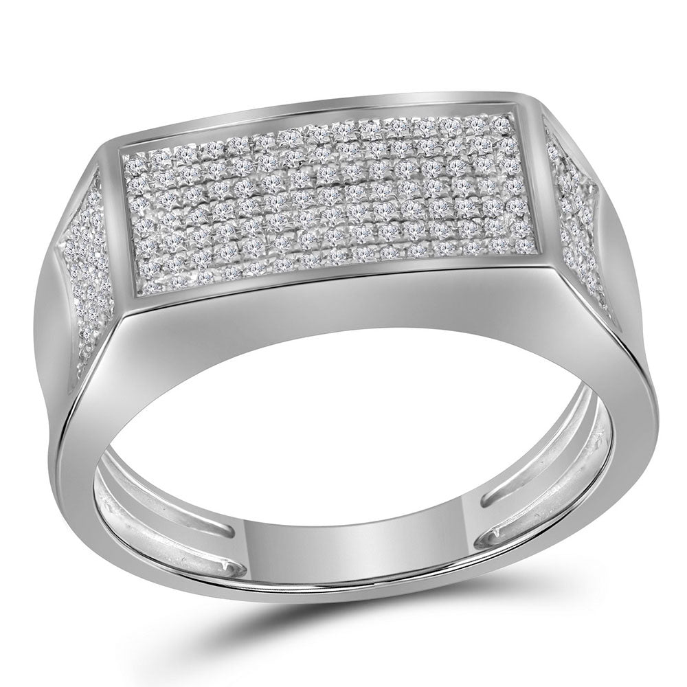 10kt White Gold Mens Round Diamond Rectangle Cluster Band Ring .35ct