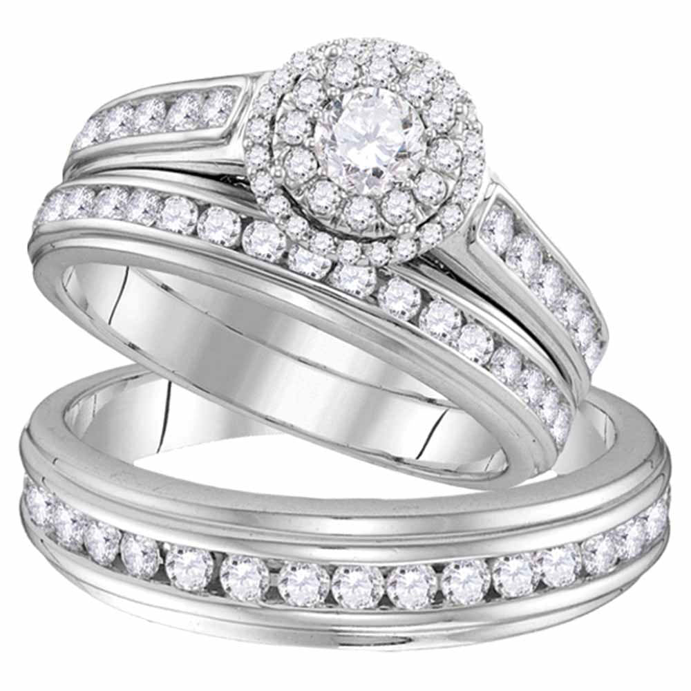 10kt White Gold His & Hers Round Diamond Solitaire Matching Bridal Wedding Ring Band Set 1.63ct