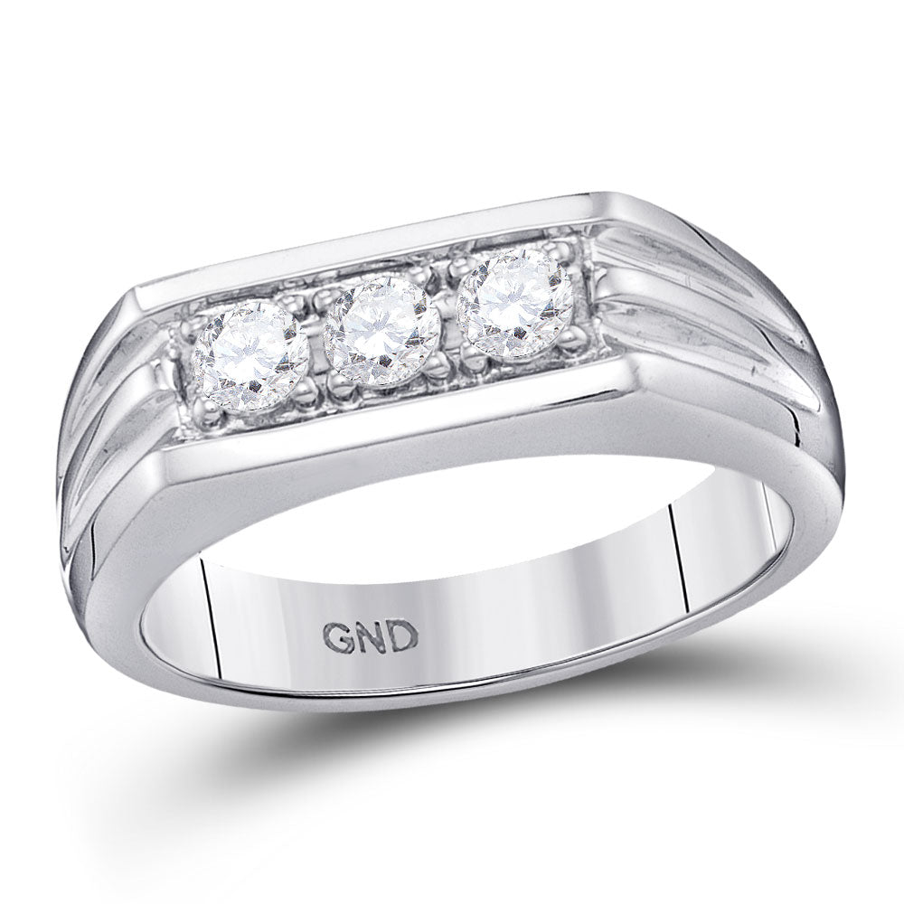 10kt White Gold Mens Round Diamond 3Stone Ribbed Band Ring .50ct