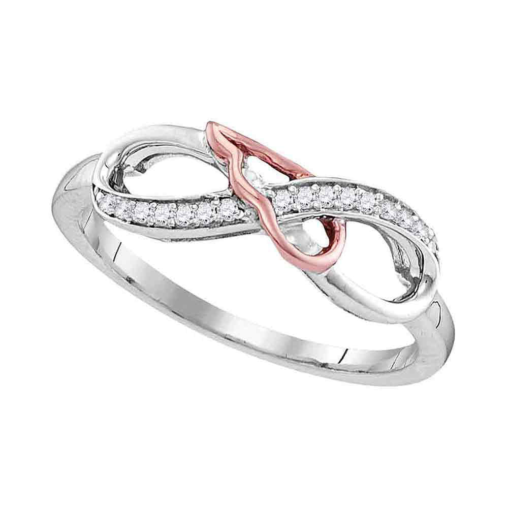 Sterling Silver Womens Round Diamond 2tone Infinity Band Ring .10ct