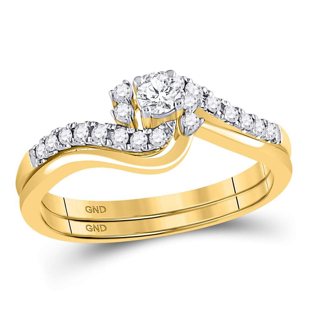 10kt Yellow Gold Womens Round Diamond Contoured Bridal Wedding Engagement Ring Band Set .35ct