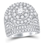 14kt White Gold Womens Round Diamond Cluster Halo Bridal Wedding Engagement Ring 5.00ct