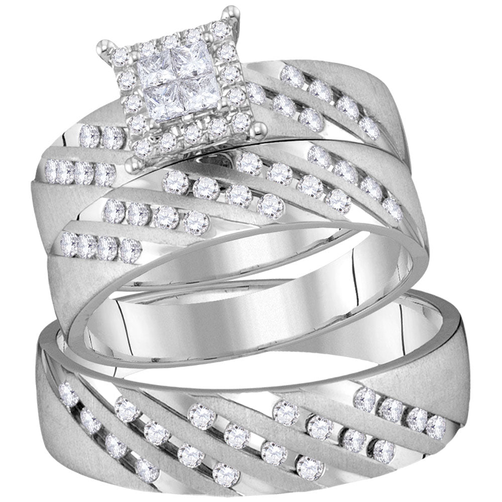 14kt White Gold His & Hers Princess Diamond Cluster Matching Bridal Wedding Ring Band Set .88ct