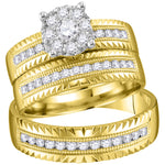 14kt Yellow Gold His & Hers Round Diamond Cluster Matching Bridal Wedding Ring Band Set .75ct